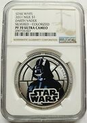2011 Silver Plated Star Wars Classic Darth Vader Niue 1 Coin Ngc Pf70uc
