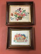 Antique Pair Black Walnut Frames W/ Inner Gilt Edge W/ Fruit And Floral Paintings