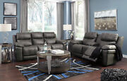 Modern Living Room Gray Leatherette Power Reclining 2 Piece Sofa Couch Set If0n