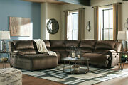 Modern 5 Piece Sectional Living Room Brown Fabric Reclining Sofa Chaise Set If1v