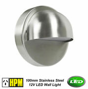 10 X Hpm Rosi Led Stainless Steel 304 Round Outdoor Step Wall Light 12v 1w Ip54