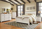 Traditional Cottage White And Brown Finish 5 Pieces Bedroom Set W. King Bed Ia1s