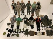 Gi Joe Lot Of 11 Action Figures 12 Tall 1990's Plus Clothing And Accessories