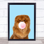 Chow Chow Colour Dog Blue Pink Gum Wall Art Print