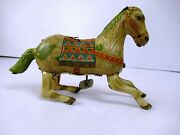 Vintage Wind Up Haji Brand Litho Tin Jumping Horse Tin Toy Japan Collectibles F