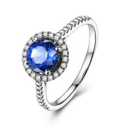 Paveandprong Round 6.5mm Artificial Sapphire Real Diamond 18k White Gold Fine Ring
