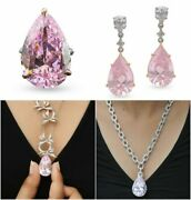 925 Sterling Silver Cz Pink Pear Drop Pendant Chain Necklace, Earrings And Ring