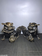 Old Collection China Pure Copper Gilding Lion Rolling Ball Statue
