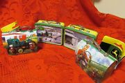Lot Of 4 John Deere Tin Lunch Boxes Christmas Tree Ornament Mini Carry All