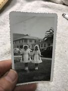 Antique Black And White Photo Of Adorable Little Girls In Wedding Dresses