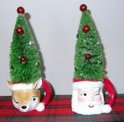 Retro Style Santa And Reindeer Mugs W/decorated Christmas Trees 2 Ornaments Nwt