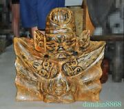 22china Chinese Hongshan Culture Old Jade Carved 3 Head Weird People Man Statue