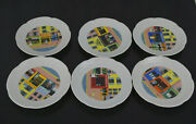 6 Porcelaine Lourioux France Wine Cheese Plates -store Fronts Theme Sc5423