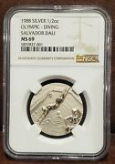 1988 Ngc Ms 69 United States 1/2oz Silver Olympic_diving Salvador Dali