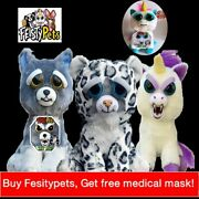 Feisty Pets Funny Face Changing Soft Toys Snow Leopard Stuffed Plush Unicorn Top