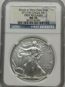 2012-w Silver Eagle Ngc Certified Ms 70 First Releases