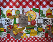 Vintage Mid Century Vinyl Red Checked Picnic Basket Bbq Sauce Recipe Tablecloth
