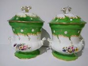 Porcelain Cachepots Antique Made In France By Old Paris Company Circa 1850-60s