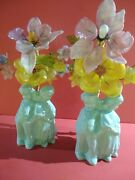 Nice Pair Of Table Lamps Kids And Flowers 151/2 Circa 1930-40s Made In England