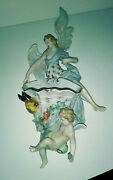 Dresden 15 Porcelain Angel Figurine Wall Pocket For Holly Water Germany