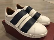 550 Bally Willet White And Blue Leather Sneakers Size Us 11.5 Made In Italy