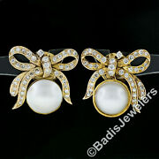 Vintage 14k Yellow Gold Mabe Pearl And 1.28ctw Diamond Large Ribbon Screw Earrings