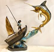 Fisherman With Marlin Statue - Bronze/color