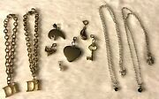 Gold Tone Charms Necklace Bracelet Jewelry Heart Key Boat Bear Fish Chains