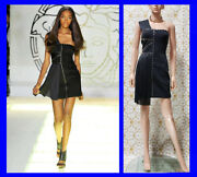 S/s 2012 Look 34 New Versace One Shoulder Black Studded Dress 38 - 2