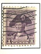 Very Rare 1932 Purple 3 Cent G Washington In A Hat With Andnbspmajor Perforation Error