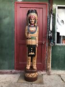 John Gallagher Carved Wooden Cigar Store Indian 4 Ft. Statue White Buffalo Knife