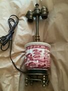 Exc Cond Red Transferware Spode Lamp In Tower Pattern W/ Crest Lighting Parts