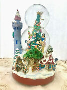 Disney Mickey And Friends Christmas Double Bubble Musical Snowglobe Castle Lights