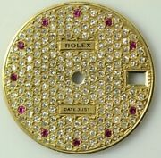 Rolex Midsize Diamond Dial With Ruby Markers For 31mm Watches