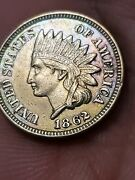 1862 Copper Nickel Indian Head Cent Snow-3a Unc