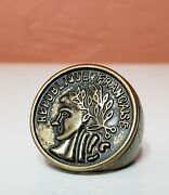 French Bronze Ring Republique Francaise Vintage Jewelry Coin France Republic