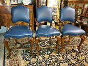 3 New Maitland Smith Leather Bar / Game Room Stools - So Nice