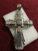 10kt White Gold Color Diamond Cross Scrap Or Wear 21.4 Grams Yellow / Blue / Wht