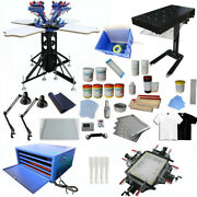 Micro Adjust 4 Color 4 Station Screen Printing Press Kit Printer With Stretcher