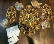 Clock Wall Mounted-golden-with Chains Holding 4 Lights-battery Operated-decor