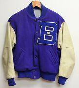 Vintage Early 1960s High School Lettermans Jacket - Size 44 - Leather Sleeves