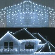 96-480led Christmas Fairy Icicle Curtain Lights Lamp Xmas Party In/outdoor Decor