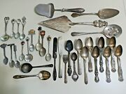 Vintage Mixed Lot 32 Silverplate Plated Silverware Spoons Forks Knifes Serving