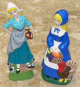 """Vintage Thanksgiving Pilgrim Women Figurines 8.5"""" And 9"""" Hand-painted Signed 1978"""