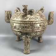 8.6 Old Shangzhou Bronze Ware Silver Plated Tiger Head Cover Tripod Statues