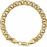 7mm 14k Yellow Gold Solid Double Cable Chain Charm Bracelet 7.75 Inch