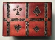 Playing Card Wooden Box Holder For Two Decks