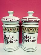 Pair Antique Apothecary Jars In Porcelain