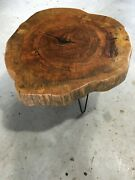 Solid Pecan Wood Coffee Table Or Night Stand Live Edge 4 Inch Thickandnbsp