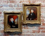 19th Century Husband And Wife Pair Of English Portraits -oil Painting